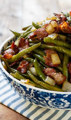 Sweet and Sour Green Beans with lots of bacon and onions.