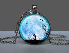 Glowing Pendant Girl & Moon, Pendant Glow in the DARK, Glowing Jewelry, Glowing Necklace, Glowing Photo