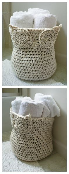 Crochet Patterns Design Crochet Owl Basket Pattern - Here are some simple Crochet Hoot Owl Container Patterns suitable for beginners and experienced crocheters. They are useful and fun to make them. Owl Crochet Patterns, Crochet Owls, Crochet Diy, Owl Patterns, Crochet Home, Crochet Gifts, Crochet Animals, Simple Crochet, Crochet Owl Basket