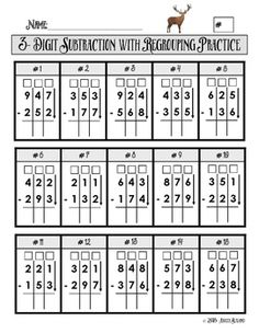 "Created for elementary age students, this is 2 pages of subtraction problems set up in a grid with boxes for ""regrouping""/""borrowing."" The grid format helps students keep their columns lined up, and the boxes will aid them in remembering to ""borrow"" tens. Teaching Subtraction, Consumer Math, Math Practice Worksheets, Math Drills, Third Grade Math, Second Grade, Math Intervention, Reading Comprehension Worksheets, Math Practices"