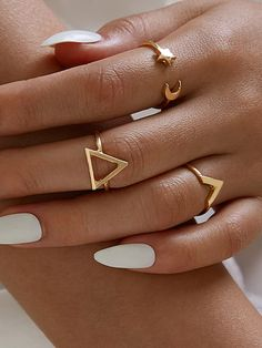 Geometric Star and Moon Ring Set accessories rings Geometric Star and Moon Ring Set Hand Jewelry, Womens Jewelry Rings, Cute Jewelry, Jewelry Accessories, Women Jewelry, Hipster Accessories, Star Jewelry, Gemstone Jewelry, Fashion Accessories