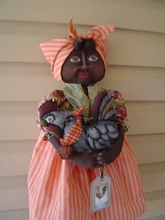 Primitive Black Mammy Doll with her chicken