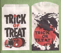 work Halloween Bags, Halloween Treats, Vintage Halloween, Halloween Costumes, Trick Or Treat Bags, Halloween Horror, Hallows Eve, Postcards, Fall Decor