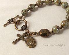 Rosary Bracelet Bohemian Glass Miraculous by LaudeArtsandGifts, $21.50