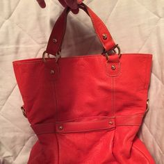 Liz Claiborne handbag Super cute bag with shoulder strap. Good condition. Bottom does show some wear. Bag in 18 inches long from hand strap to bottom and  12 inches wide. Liz Claiborne Bags