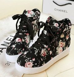 2013 platform women's high top shoes casual platform canvas shoes female height increased floral sneakers / free shipping-inSneakers from Sh...