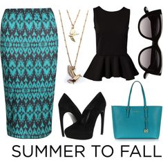 """""""Summer to Fall Midi Skirt Trend"""" by giselles6 on Polyvore"""