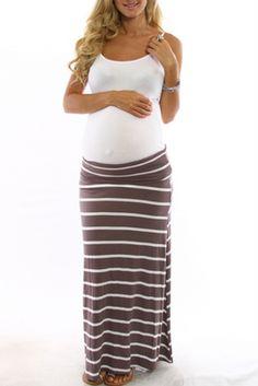 mocha striped maxi, maternity skirt