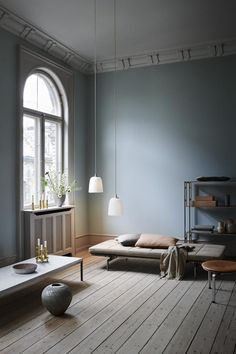 2019 Scandi styled living room with light blue walls and a stunning daybed, and two Dogu pendant lights designed for Lightyears looking all so stylish. Image by Nest. Living Room Lighting, Interior Design, House Interior, Blue Living Room, Living Decor, Interior, Room Design, Bedroom Design, Blue Walls