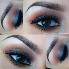 """Mac brown script, saddle, then sigma eyeshadow base in """"spy"""" and carbon along the lash line. @c_flower"""