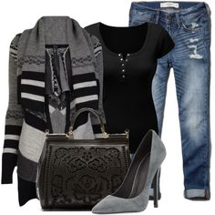 A fashion look from September 2014 featuring High cardigans, Abercrombie & Fitch jeans and Jeffrey Campbell pumps. Browse and shop related looks.