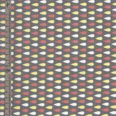 Tissu en coton enduit gris motif gouttes jaune, blanches et orange : Tissus à thème par mercerie-de-rosalie