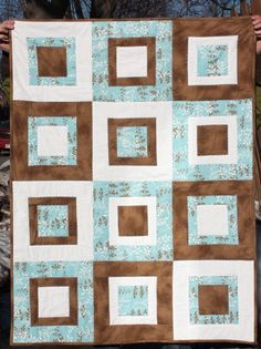 Baby Quilt in Blue, Brown and White by Nstarstudio