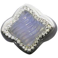 David Yurman Chalcedony Diamond Gold Quatrefoil Ring 1