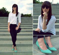Black + mint! (by Karina K.) http://lookbook.nu/look/3607759-Black-white-mint