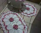 Jogo de banheiro com flor camélia
