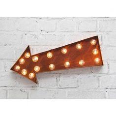 H&H... Illuminated Carnival Arrow LED Wall Light Vintage Style Rust