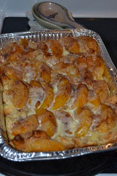 Peaches and Cream Overnight French Toast Casserole! I'm planning to use my camp chef oven to cook it for tailgate!