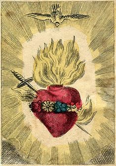 "Vintage Sacred Heart Print ""The Immaculate Heart of Mary"" Cathlic Surreal Antique Gothic Religious Illustration Religious Images, Religious Icons, Religious Art, Et Tattoo, Mary Tattoo, Tattoos, Jesus E Maria, Religion, Heart Of Jesus"