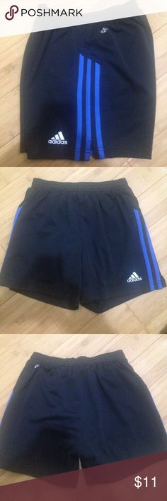 """Adidas Climalite Brief Lined Running Shorts Blue on Black color way, these are in gently used condition. Size is Small, I think these are men's shorts but they can be worn by a woman. Measurements when laid flat are 14"""" from waist to bottom hem, waist is elastic so when pulled out all the way they are approx 19"""", these have a brief lining as well Adidas Shorts"""