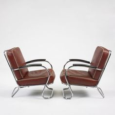 Tubular steel 1930's chairs - Wolfgang Hoffman - these remind me of some large chairs in red and yellow upholstery which were in the office lobby of the Santa Clara County Boys Ranch where my dad worked in the 1960's.