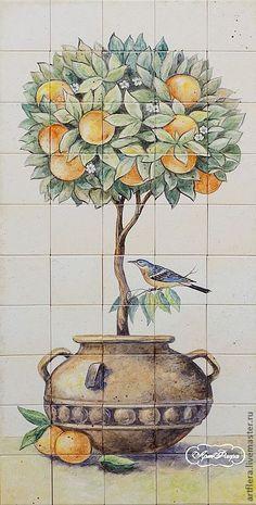 Купить или заказать Панно на стену ' Апельсиновое деревце' в интернет-магазине на Ярмарке Мастеров. Это апельсиновое деревце заказали для уличного фасада загородного дома... Роспись производилась на матовой плитке размером 10 х 10 см, надглазурными красками , после росписи плитка обжигается при 830 С в муфельной печи. при такой температуре краска вплавляется в глазурь плитки , таким образом образуется стеклянный сплав. Рисунок никогда не сотрётся и ухаживать за расписанной плиткой не ...