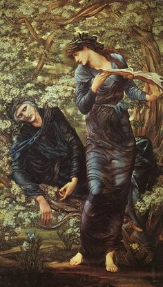 The Beguiling of Merlin by Sir Edward Burne-Jones     Nimuë (or Vivien) was an enchantress who traded her love for lessons in sorcery from Merlin, but finally turned on him, using one of his own spells to ensnare him in a hawthorn bush and transport him to a tower as an eternal prisoner.