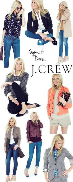 Fashion Style Combinations - Gwyneth does J. Crew --black pens instead of jeans or shorts