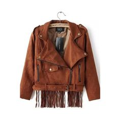 Camel Soft Suede Back Fringed Cropped Moto Jacket ($70) ❤ liked on Polyvore featuring outerwear, jackets, camel, cropped motorcycle jacket, brown jacket, suede biker jacket, biker jackets and brown cropped jacket