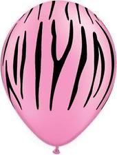 "Neon Pink Zebra Animal Print 11"" Qualatex Latex Balloons x 5"