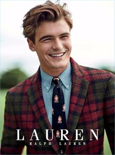Garrett Taber wears a red and green sport coat from Lauren by Ralph Lauren.