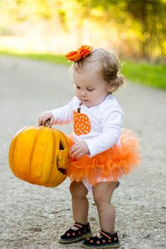 Polka Dot Pumpkin Baby Girl Tutu Bodysuit  by Peaceloveandkids... Precious for Haloween, but I'd have to monogram that pumpkin!