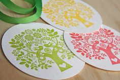 Letterpress Coaster Scandinavian Folk Style Tree of Life