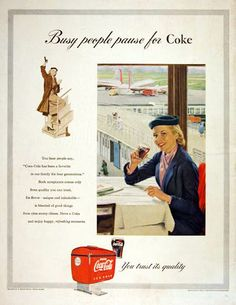1953 Coca Cola original vintage advertisement. The pause that refreshes - at the airport.