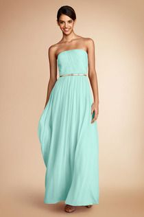 What's not to LOVE! The Emily dress in Spearmint with a gold accent belt! #Donnamorgan #Bridesmaids #Spearmint