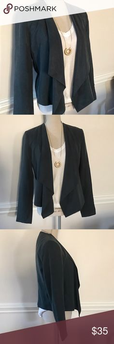 """Banana Republic Brushed Drape Jacket New with tags- BR Factory draped jacket in the softest brushed tencel fabric (100% Tencel/Lyocell) Fully lined. Color is 'Indie Grey' but it is more of a deep green/gray- still a neutral but with some color. SZ 6. Measurements (lying flat) chest: 19""""; waist: 18""""; at hem: 20"""". The front drapes at the longest point to 25.5"""" from shoulder and at the base of the jacket 20.5"""" from shoulder. Arm (underarm to wrist): 18"""". Banana Republic Jackets & Coats"""