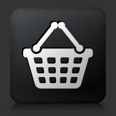 Black Square Button with Shopping Basket Icon vector art illustration