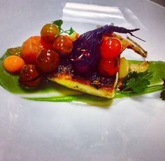 sea bass with roasted beets and cherry heirloom tomatoes, avocado puree - Chef Michelle Martinez