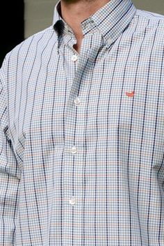 Southern Marsh: Toulouse Gingham Dress Shirt, Orange and Navy