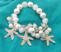 Pearl Stretch Bracelet with Starfish Charms