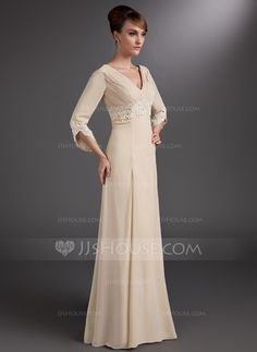 Empire V-neck Floor-Length Chiffon Mother of the Bride Dress With Ruffle Lace Beading (008006084)