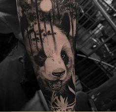 My Panda by Jonathan C Herrera. Panda Bear Tattoos, Animal Tattoos, Half Sleeve Tattoos Forearm, Arm Band Tattoo, Badass Tattoos, Tattoos For Guys, Tattoo Life, Big Tattoo, Image Panda