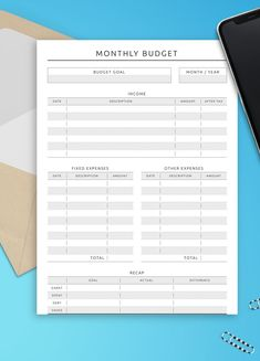 With this Monthly Spending Tracker you can account for every penny coming in and out of your possession & start making better financial decisions for your future. You have all the tools you need to successfully budget your money and be able to save up for that family vacation that you've been dreaming about! You'll get a ready-to-print PDF file. #monthly #tracker #spend #budget #spending Monthly Budget Printable, Monthly Planner Template, Weekly Hourly Planner, Printable Planner, Date, Budget Sheet Template, Spending Tracker, Budget Sheets, Monthly Expenses