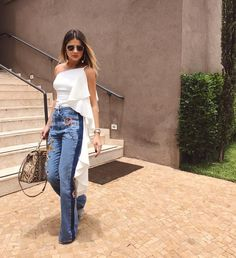 Denim kinda day De top @skazioficial e calça @bobonews! Que tal?! #thassiastyle #ootd