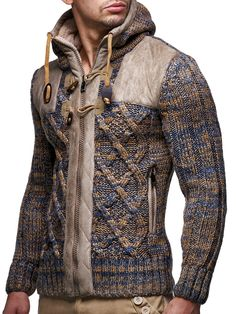 a26d29474e13fc Leif Nelson Men s Knit Zip-up Jacket With Geometric Patterns and Leather  Accents