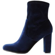 Charlotte Russe Velvet Sock Booties ($30) ❤ liked on Polyvore featuring shoes, boots, ankle booties, blue, block heel booties, charlotte russe, blue velvet boots, almond toe boots and ankle length boots