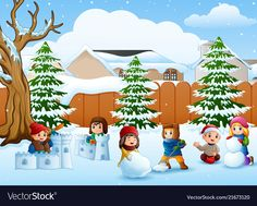 Cartoon kids playing in the snow vector image on VectorStock Kids Playing In Snow, Snow Vector, Winter Clipart, Letters For Kids, Winter Art, Christmas Crafts, Christmas Ideas, Merry Christmas And Happy New Year, Cartoon Kids