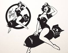 'Big Bessy' is inspired by the nose art and pin ups of WWII. This sticker goes well on most walls and even vehicles! Contemporary Wall Stickers, Traditional Tattoo Old School, Arte Hip Hop, Pin Up Tattoos, Tatoos, Old School Tattoo Designs, Tatuagem Old School, Silhouette Clip Art, Nose Art