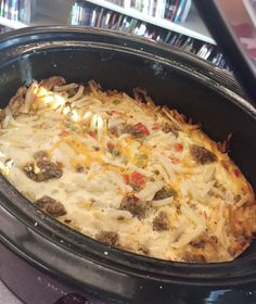Crockpot Breakfast Casserole This Crockpot Breakfast Casserole is the perfect dish to make for holidays or weekends! It's easy and delicious!This Crockpot Breakfast Casserole is the perfect dish to make for holidays or weekends! It's easy and delicious! Overnight Crockpot Breakfast, Slow Cooker Breakfast, Breakfast Crockpot Recipes, Breakfast Casserole Sausage, Breakfast Dishes, Casserole Recipes, Crockpot Meals, Crockpot Dishes, Eat Breakfast
