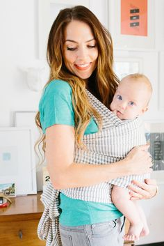Natural & Grey Stripe - Solly Baby. I'm getting this before #2 gets here!! Baby wearing wrap